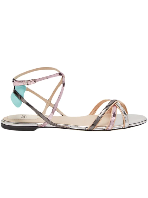 6c7b11e69fe Fendi Colibri Metallic Strappy Flat Sandals