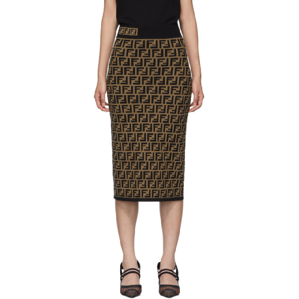 Fendi Ff-Jacquard High-Rise Knit Pencil Skirt In F118W-Tabacco