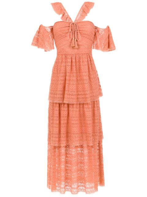 Nk Long Layered Dress In Orange