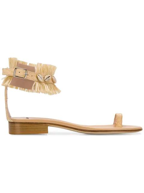 Leandra Medine Raffia Fringe Sandals In Neutrals