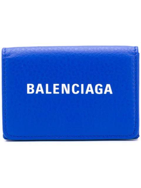 Balenciaga Everyday Logo Wallet In Blue