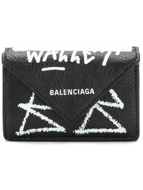 Balenciaga Mini Paper Graffiti Wallet In Black