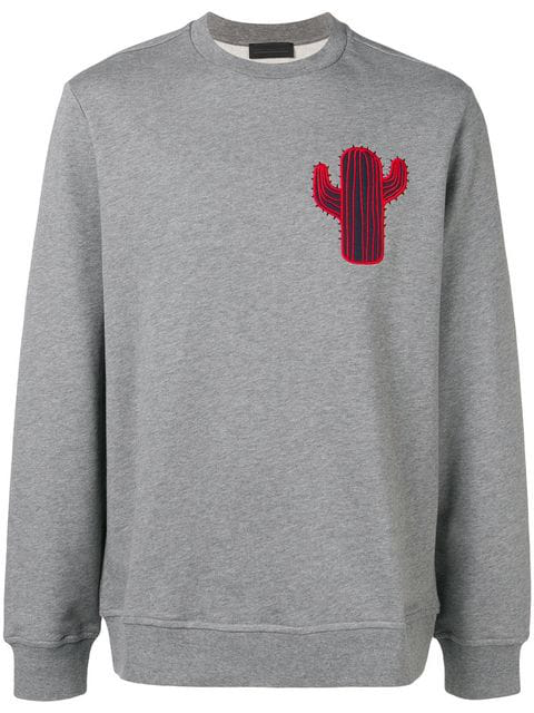 Diesel Black Gold Boxy Sweatshirt With Cactus Patch In Grey