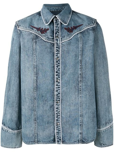 Diesel Black Gold Denim Shirt With Geometric Embroidery In Blue