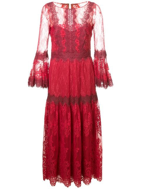 Marchesa Notte Sleeve Mixed Lace Midi Tea Dress In Red