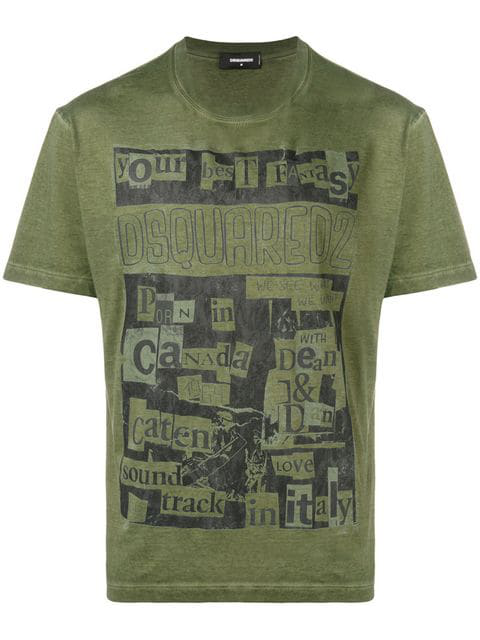 Dsquared2 Collage Print T-shirt In Green