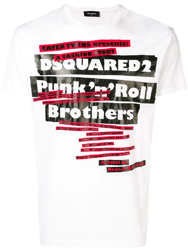 5c652fac Dsquared2 Punk N Roll Brothers T-Shirt In White   ModeSens