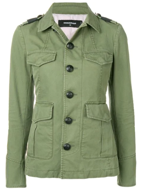 Dsquared2 Military Buttoned Jacket In Green