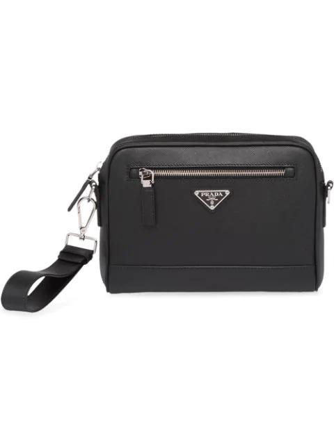 Prada Saffiano Leather Shoulder Bag In Black
