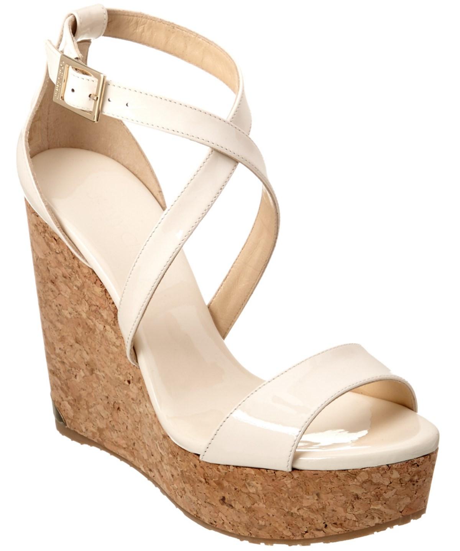 1af4239c40a Jimmy Choo Portia 120 Patent Cork Wedge Sandal In Beige