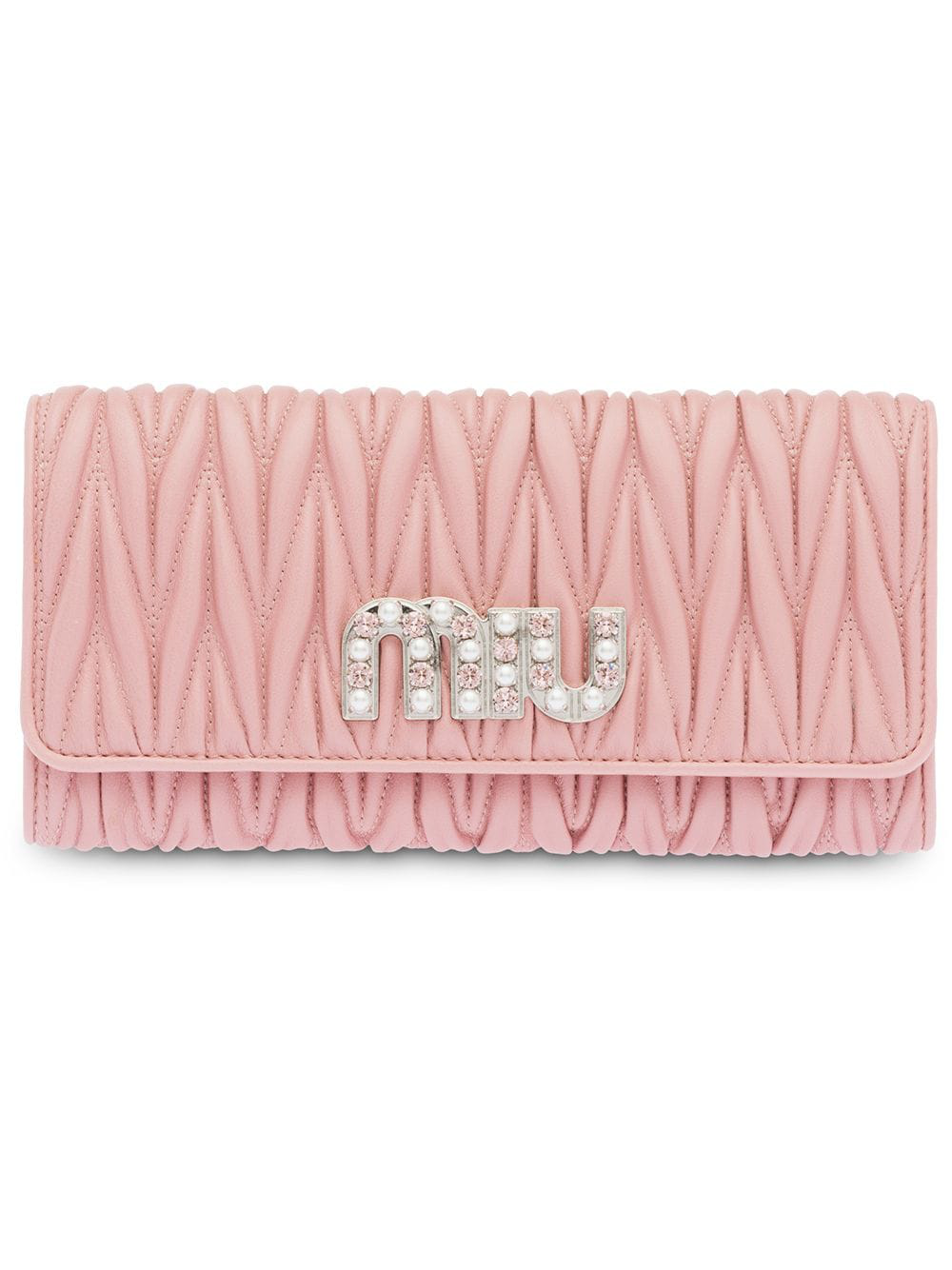 20729302527 Miu Miu Matelassé Nappa Leather Wallet - Pink