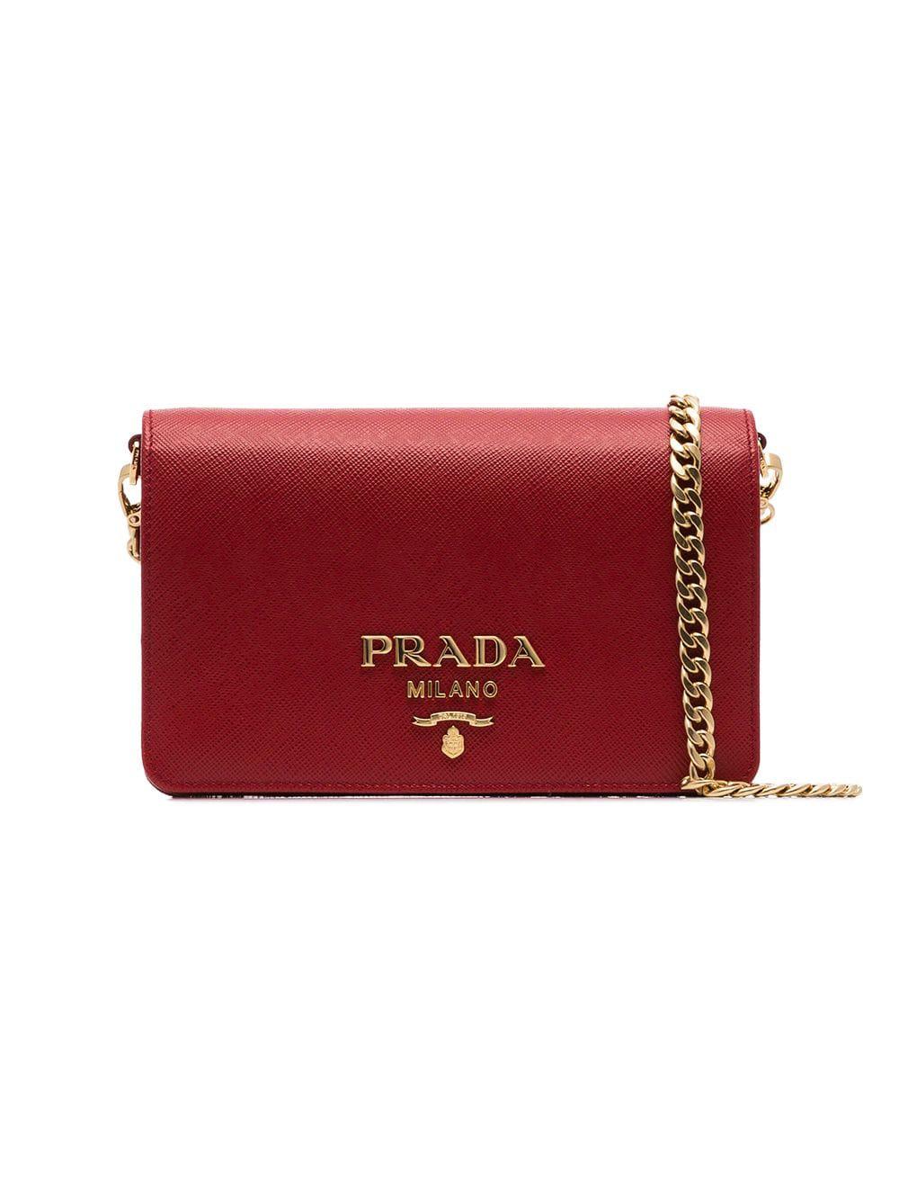 36cc2caae Prada Red Logo Leather Cross Body Bag   ModeSens