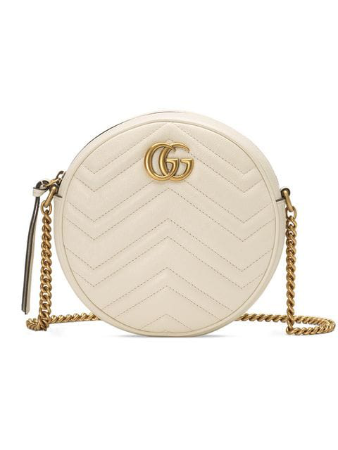 Gucci Gg Marmont Circle Quilted Leather Shoulder Bag In White