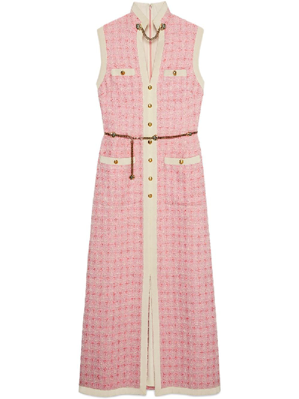 4be4a27ab6 Gucci Sleeveless Long Tweed Dress With Chain Belt In Pink | ModeSens