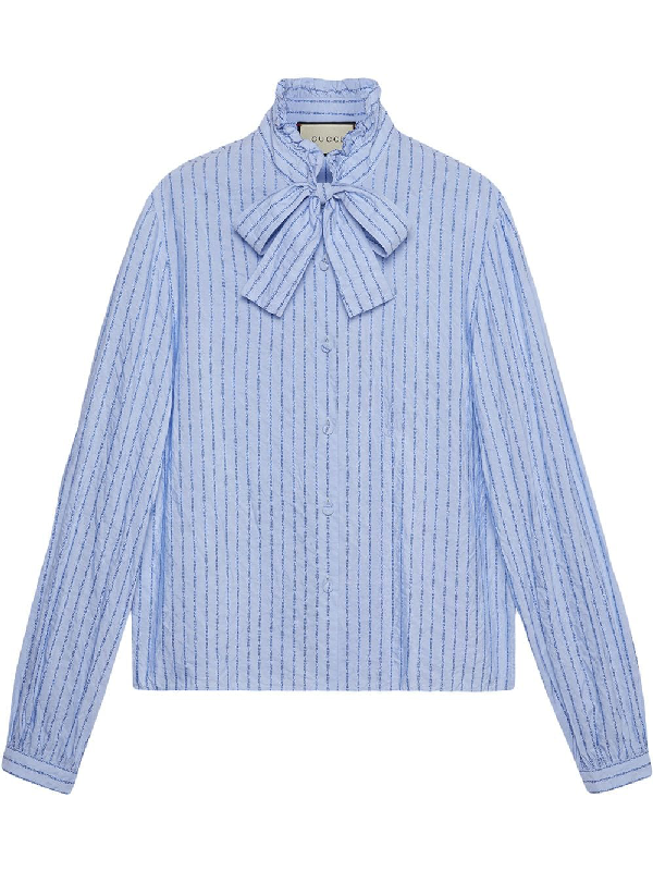 78ec5d5a623 Gucci Pussy-Bow Striped Logo-Jacquard Cotton Shirt In Blue