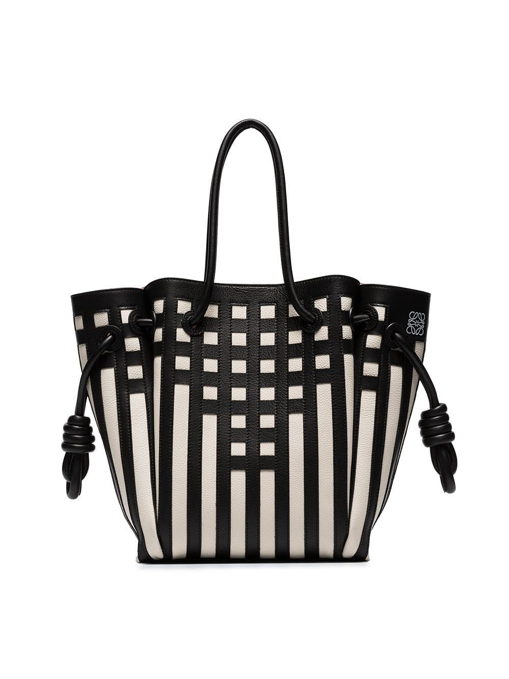 Loewe Flamenco Knot Grid Calfskin Leather Tote - Black