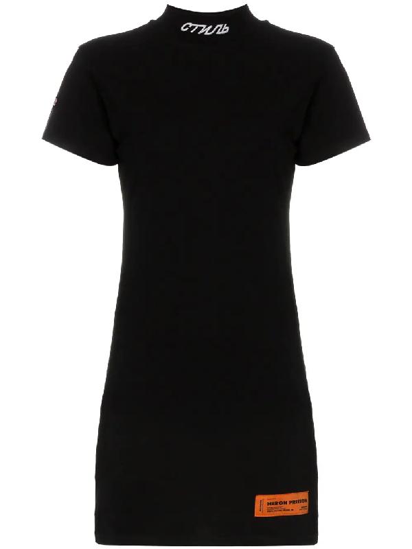 837bf7badd7 Heron Preston High Neck Cotton Mini Dress - Farfetch In Black