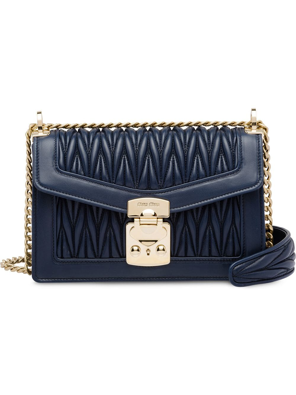c537b7e1513 Miu Miu Miu Confidential Matelassé Leather Bag - Blue