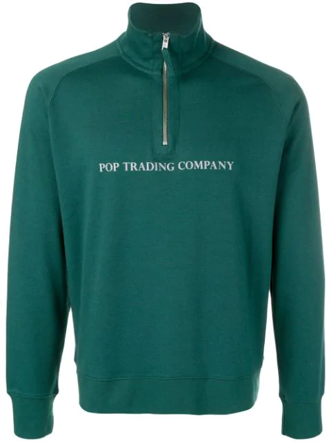 Pop Trading Company Logo Printed Sweatshirt In Green