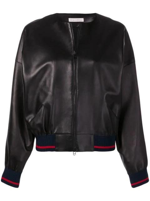 InÈS & MarÉChal Leather Bomber Jacket In Black