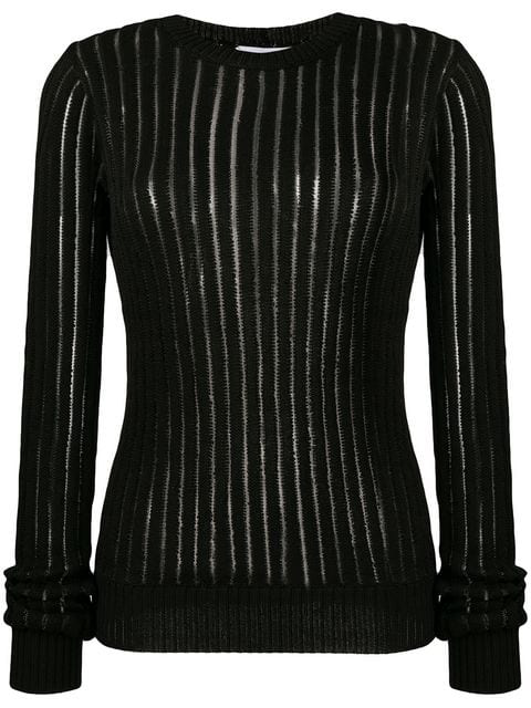 Helmut Lang Sheer-Striped Cotton Rib-Knit Sweater In Black