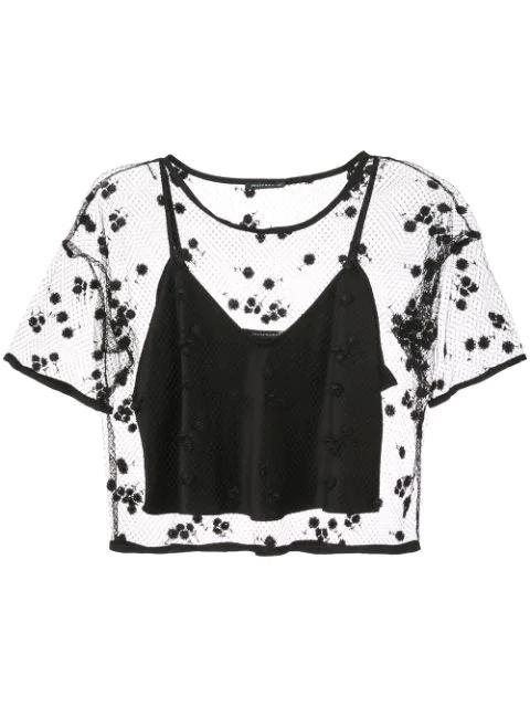 Josie Natori Embroidered Mesh Top In Black