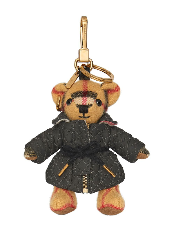 Burberry Thomas Bear Charm In Quilted Jacket In Neutrals