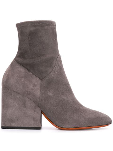 Santoni Chunky Heel Ankle Boots In Grey