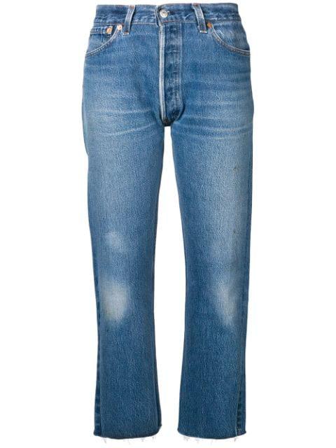 Re/Done Stove Pipe Jeans In Indigo