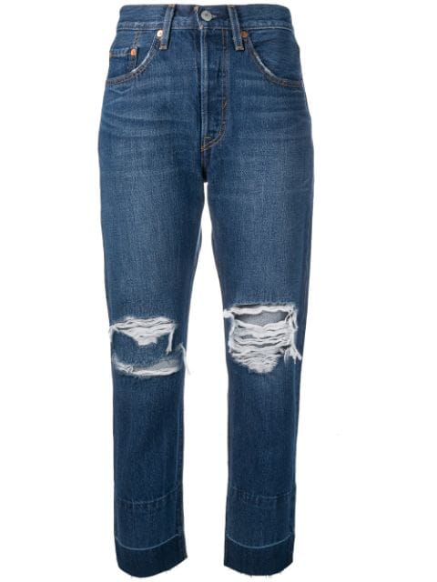 Levi's 501 Cropped Jeans In Blue