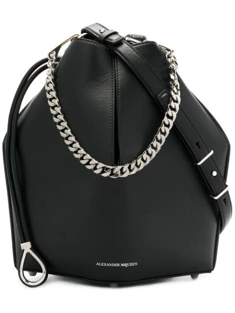 Alexander Mcqueen Chain Style Bucket Bag In 1000 Black