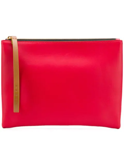 Marni Block Colour Leather Pouch In Red