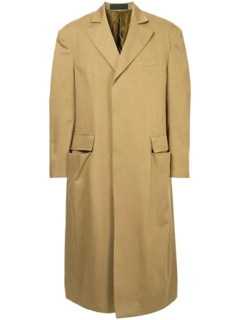 Haider Ackermann Long Single-breasted Coat In Brown