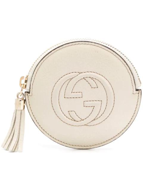 Gucci Gg Logo Coin Purse In Neutrals