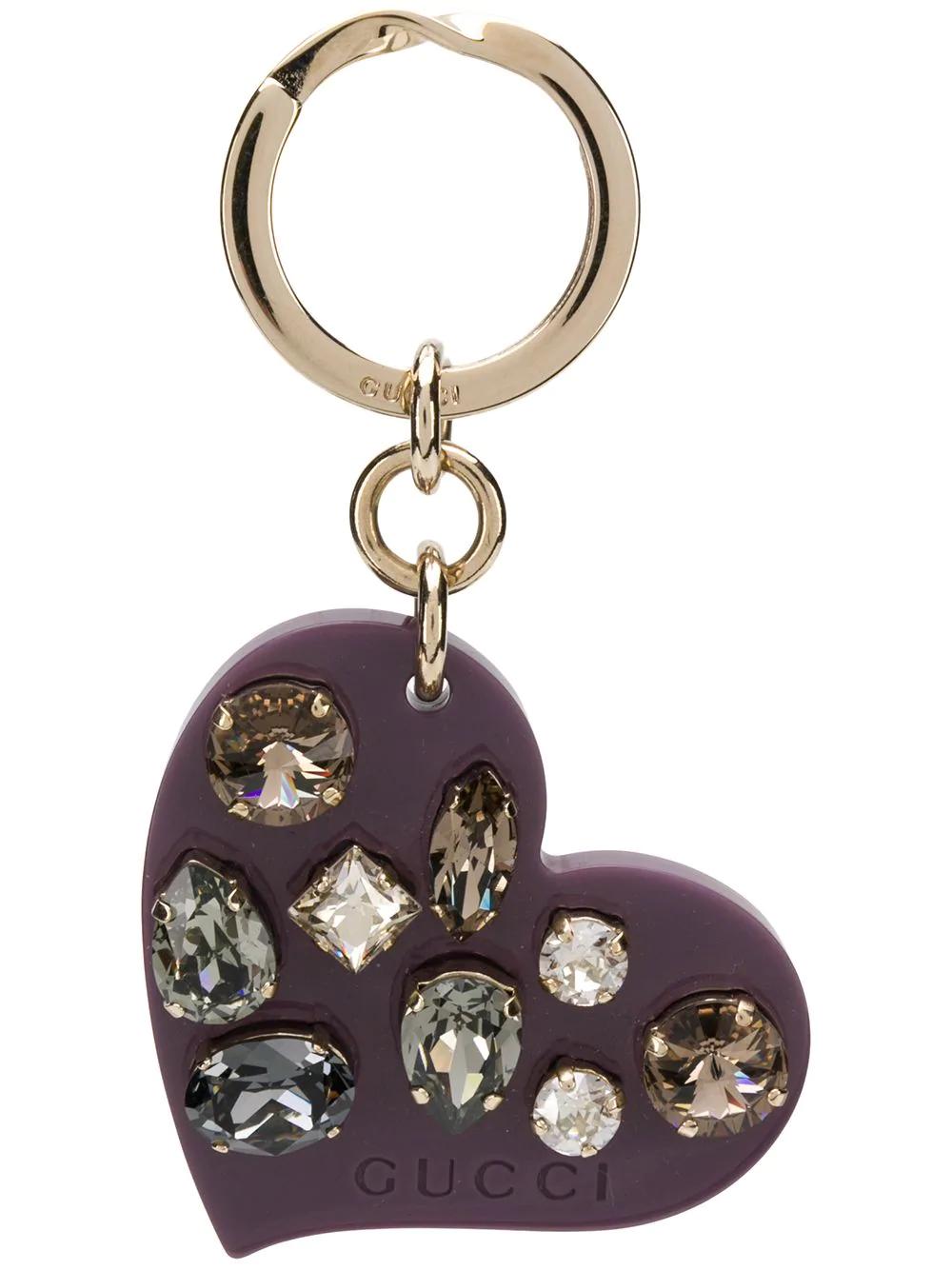 62988c09a28 Gucci Embellished Heart Keyring - Purple