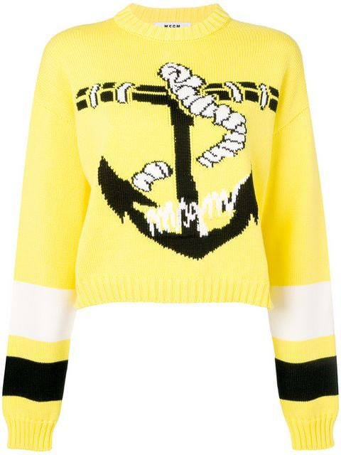 Msgm Anchor Print Sweater In Yellow