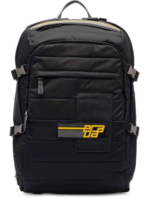Prada Logo Patch Backpack In F0C2P Black/Sunny Yellow