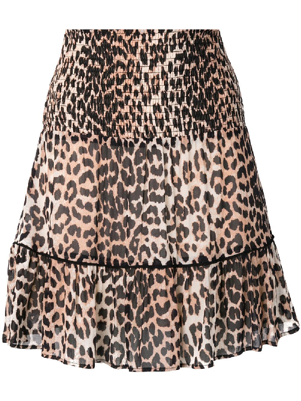 8e0559c18c59 Ganni Printed Georgette Leopard Mini Skirt In Neutrals | ModeSens