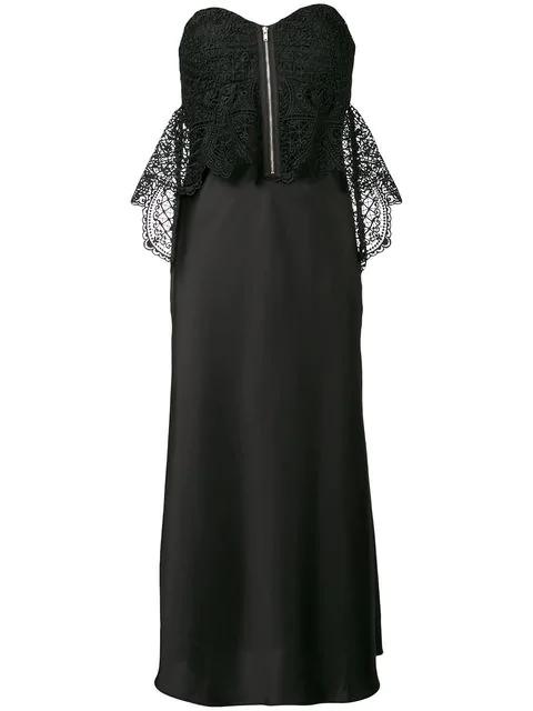 Self-portrait Lace Bodice Satin Dress In Black