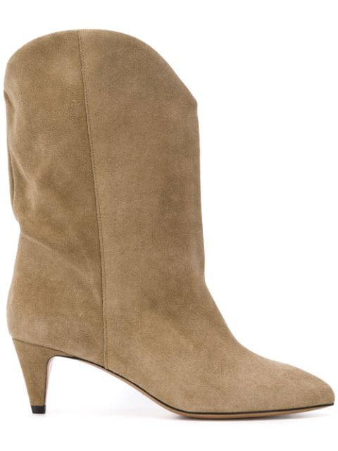 Isabel Marant Dernee Suede Boots With Cone Heel In 50Ta Taupe