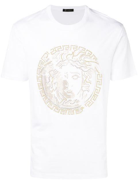 Versace Studded Medusa Slim Fit T-Shirt In A001 White