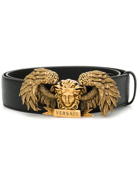 Versace Medusa Wing Leather Belt In K41Ot Nero- Oro Tribute