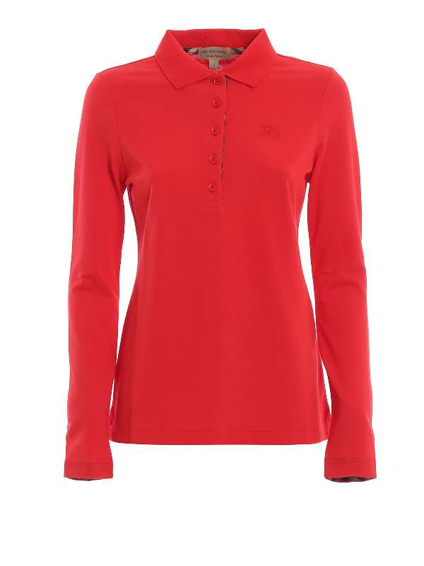 Burberry Red Cotton Polo Shirt