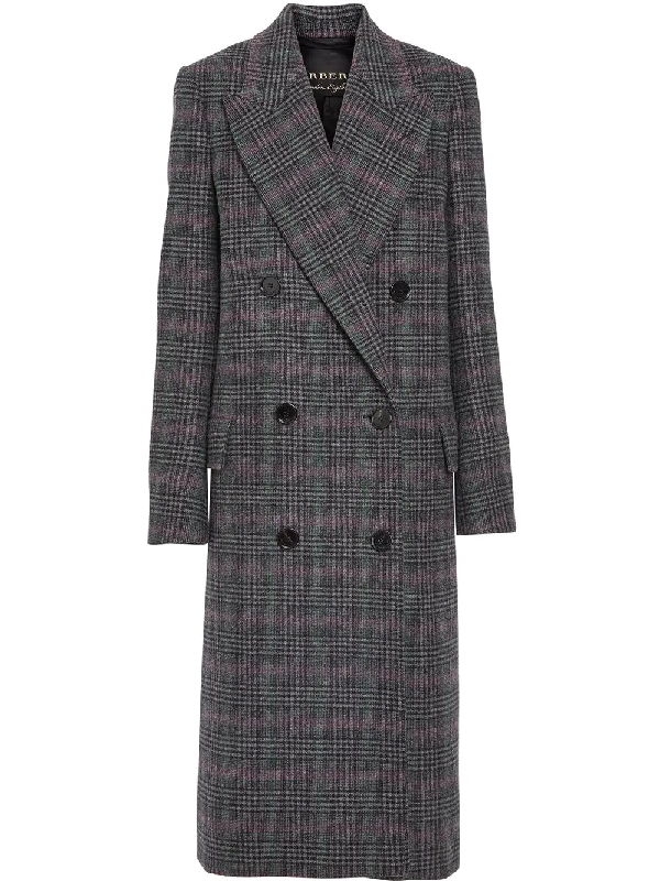 f04e4cb8f574 Burberry Prince Of Wales Check Wool Tailored Coat In Grey | ModeSens