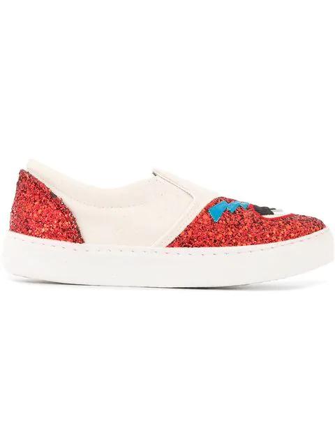 Chiara Ferragni Red Fabric Slip On Sneakers In White