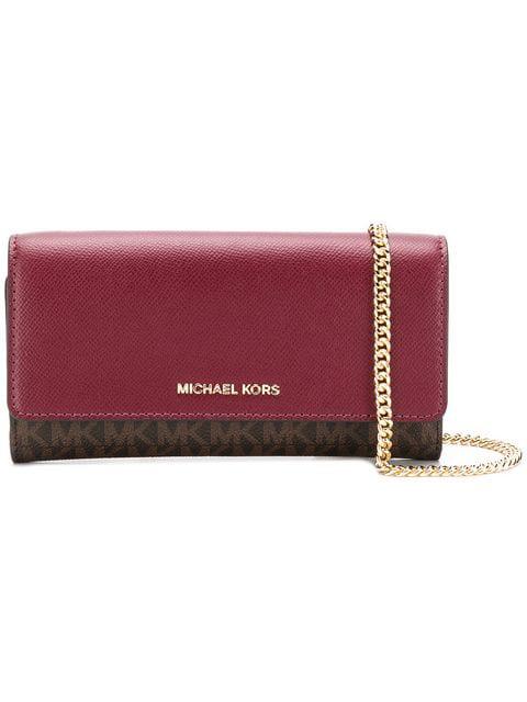 Michael Michael Kors Monogram Wallet Shoulder Bag In Red