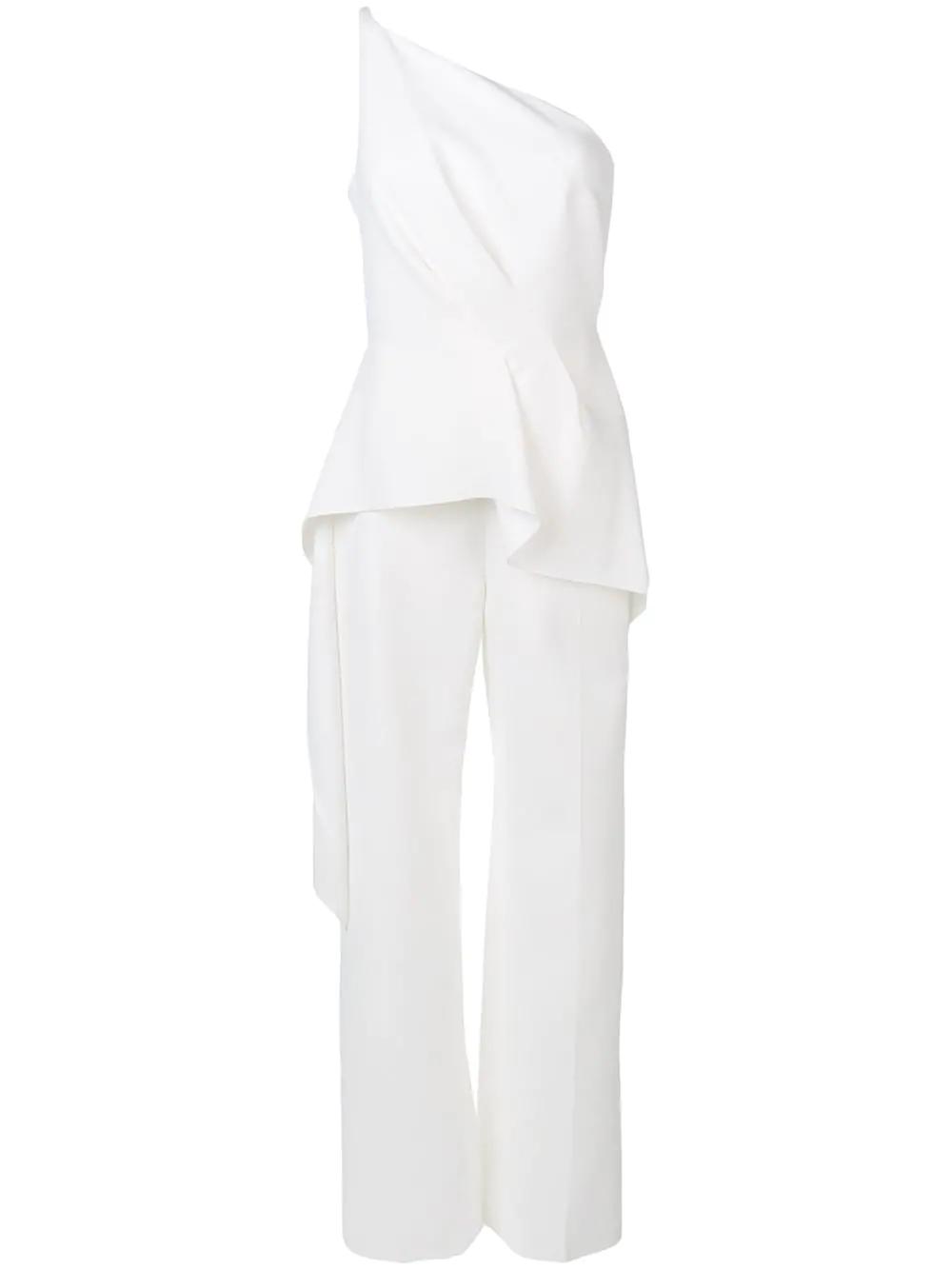 70b0df913f25 Roland Mouret Charlesworth One-Shoulder Draped Peplum Jumpsuit In White
