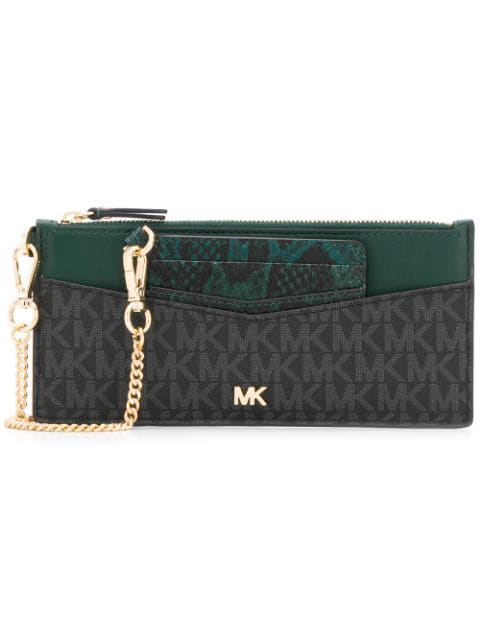 Michael Michael Kors Monogram Zipped Wallet In Black