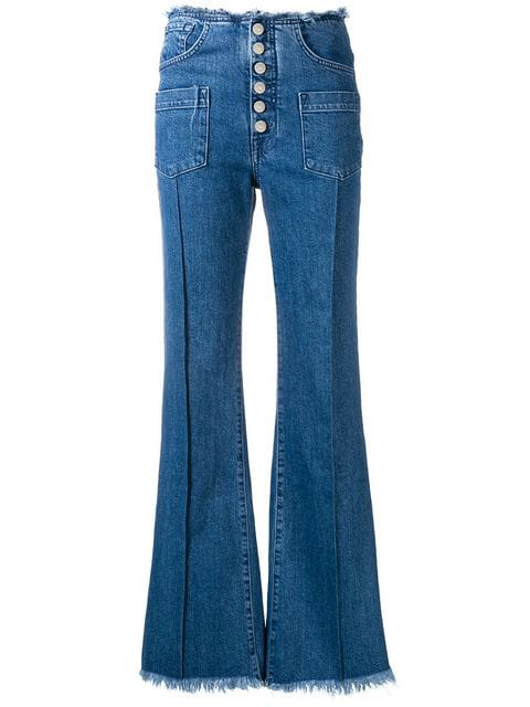 7 For All Mankind Pocket Detailed Flared Jeans In Blue