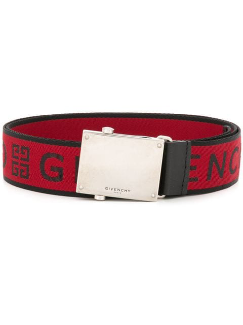 Givenchy Logo-Jacquard Webbed Fabric Belt In Red